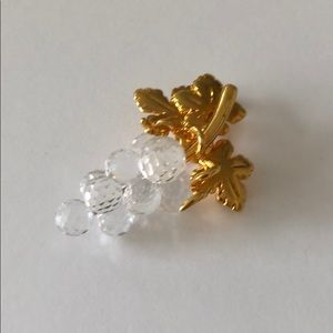 Swarovski Crystal Swan Signed Grape Cluster Brooch